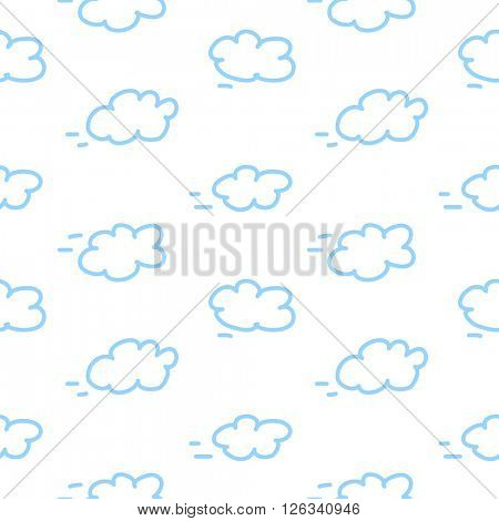 Clouds seamless pattern. Isolated white background in cartoon style. Can be used for children wallpapers, web site background or wrapping paper