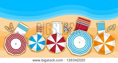 Summer Beach Vacation Sunbed With Umbrella Sand Tropical Banner Top Angle View Flat Vector Illustration