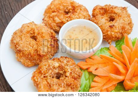 Fried shrimp cake Thai food in restaurant