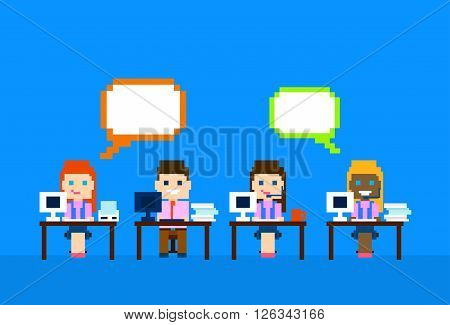 Team Work Computer, Man Woman Call Center Operators  Customer Support People Group Chat Bubble Internet Communication Vector Illustration