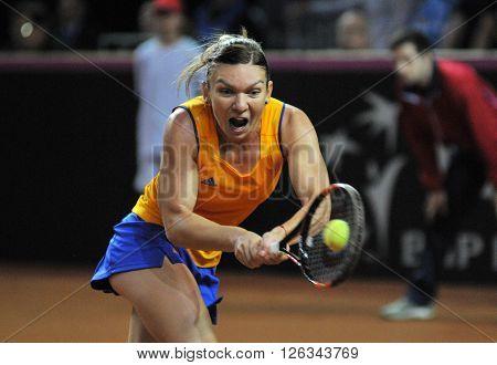 Woman Tennis Player Simona Halep During A Game