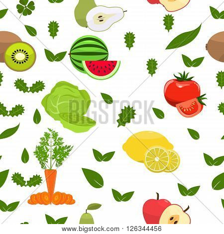 Fruity seamless pattern. Flat color design. Healthy food background. Summer fresh seamless pattern. Isolated Vector background