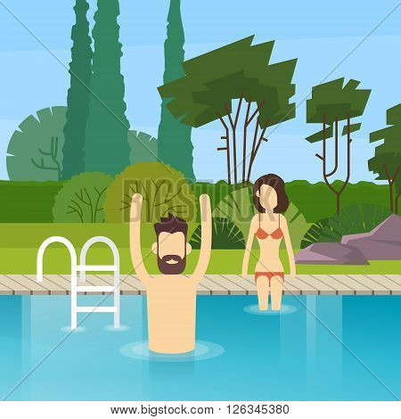 Couple In Swimming Pool Leisure Activity Flat Design Vector Illustration