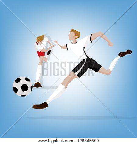 Football player fighting match Germany beat Poland