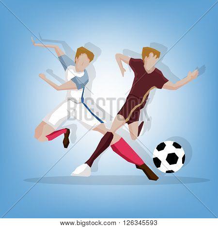 Football player fighting match England beat Russia
