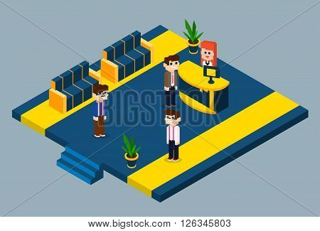 Business Meeting Office Hall Woman Reception Client Flat Vector Illustration
