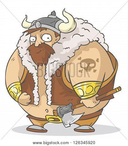 A vector illustration of funny cartoon viking