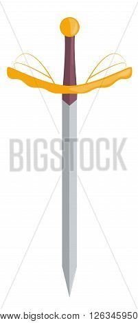 The sharp sword of the knight with a golden hilt. Vector illustration