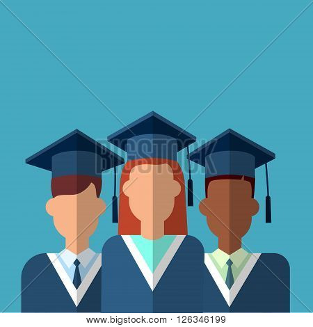 Student Group Graduation Gown Cap Flat Vector Illustration