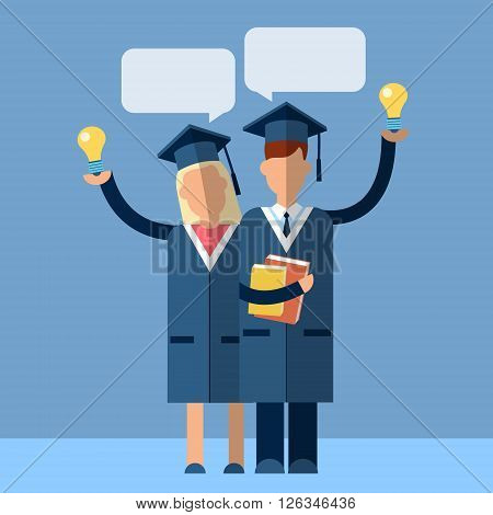 Student Couple Graduation Gown Woman Man Hold Light Bulb With Chat Box Flat Vector Illustration