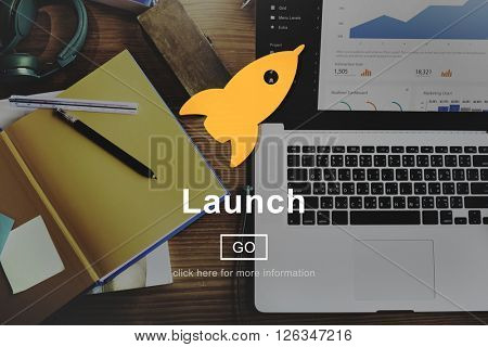 Launch Start Begin Rocket Ship Icon Concept