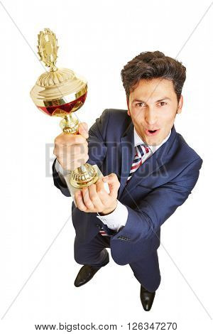 Cheering manager winning a big trophy cup