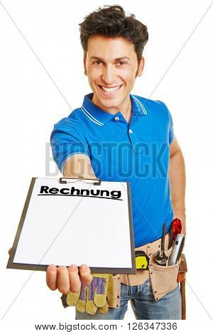 Slmiling craftsman presenting clipboard with German word