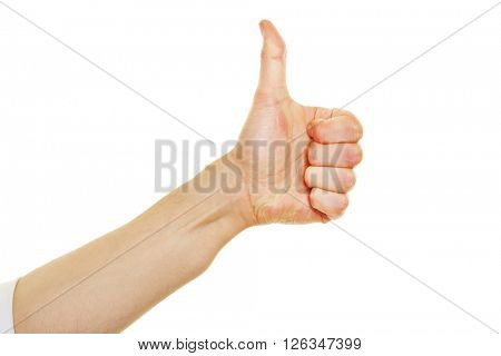 Side view of hands showing thumbs up isolated on white