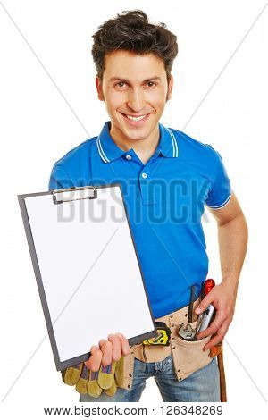 Artisan holding clipboard with empty white sheet of paper