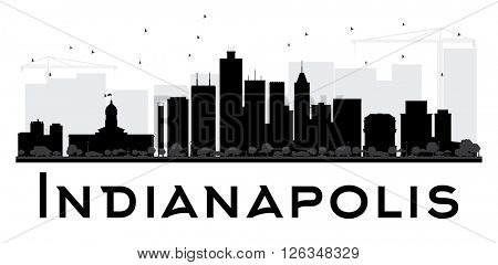 Indianapolis City skyline black and white silhouette. Vector illustration. Simple flat concept for tourism presentation, banner, placard or web site. Business travel concept. Cityscape with landmarks