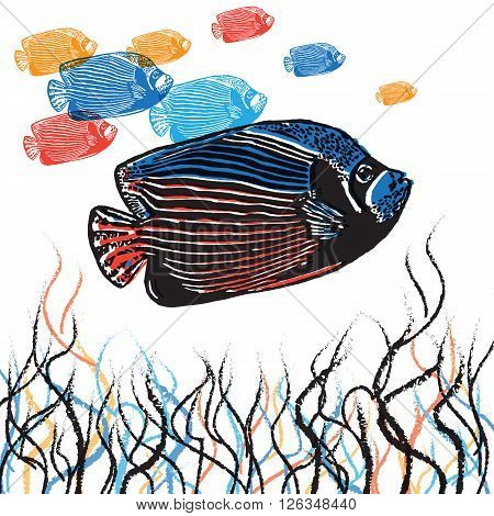 Vector Emperor angelfish in abstract composition. Linocut fishes in different colours on the white background