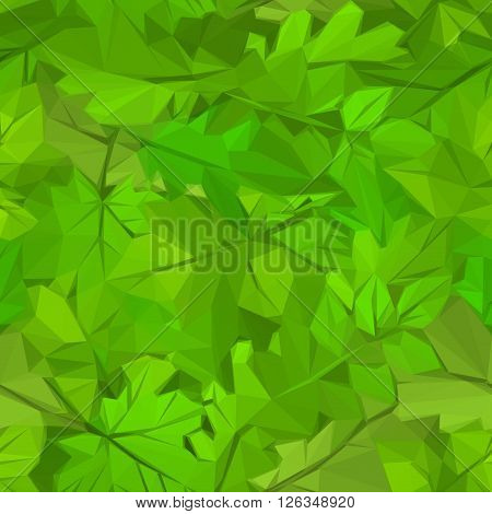 Abstract Floral Background, Green Leaves Low Poly Design. Vector