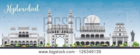 Hyderabad Skyline with Gray Landmarks and Blue Sky. Vector Illustration. Business Travel and Tourism Concept with Historic Buildings. Image for Presentation Banner Placard and Web Site.