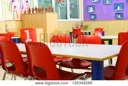 Small Red Chairs Within A Class Of Kindergarten