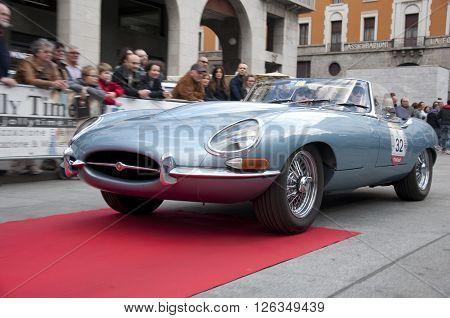 BRESCIA, ITALY - APRILE 17, 2016:500 Miglia. Finish. JAGUAR E-TYPE, 1961 built