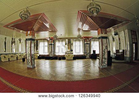 Panoramic view of a modern sanatorium interior in Zheleznovodsk,Caucasus