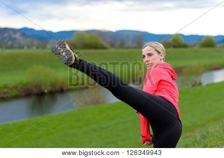 Fit Supple Young Woman Working Out