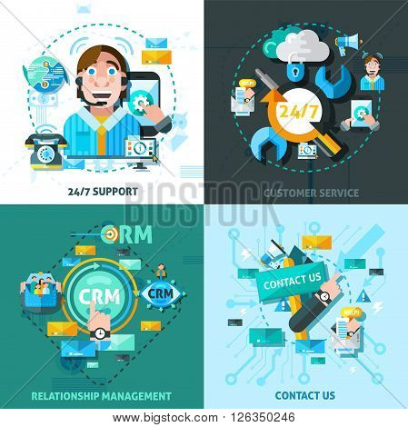 Customer support concept icons set with relationship management symbols flat isolated vector illustration