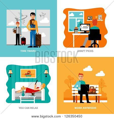 Preferences of freelance set with concepts of work relaxation pick of drafts travel isolated vector  illustration