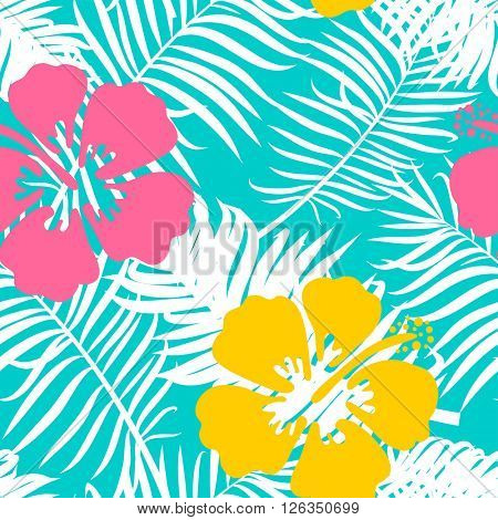 Summer seamless background with blue palm leaves and hibiscus flowers. Tropical trendy seamless pattern with exotic leaves and flowers. Textile pattern.