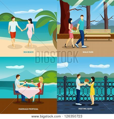 People fall in love flat set with romantic couples dating outdoors vector illustration