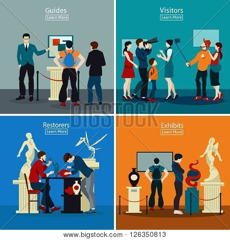 People in museum and gallery 2x2 design concept with exhibits restorers guides and visitors flat vector illustration