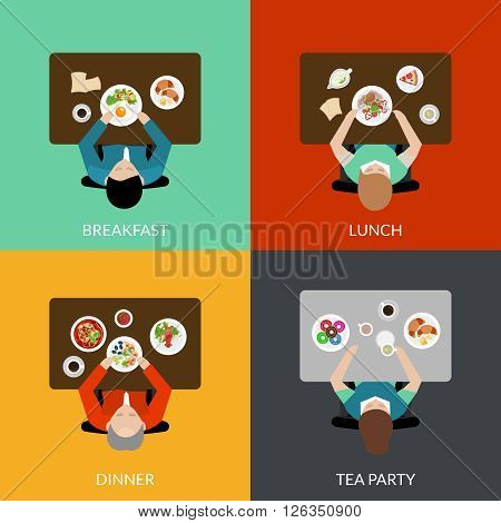 Flat icon set with eating people with different variants of meal top view vector illustration