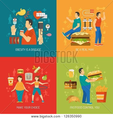 Concept color flat that draws attention to the problem of obesity and agitating fight overweight vector illustration