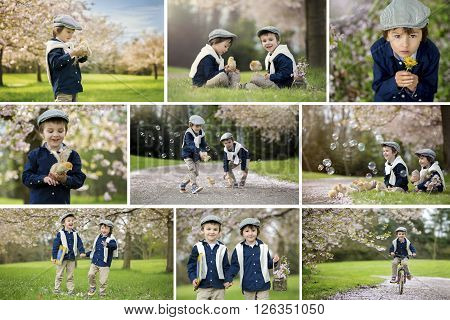 Collage Of Two Cute Children, Boy Brothers, Doing Different Things