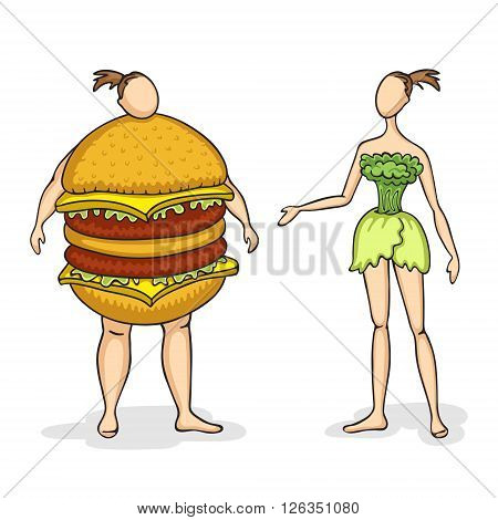 Fat woman with sandwich instead of body and slender woman with vegetables instead of body. We are what we eat. Healthy and unhealthy food concept. Caricatured sketch.