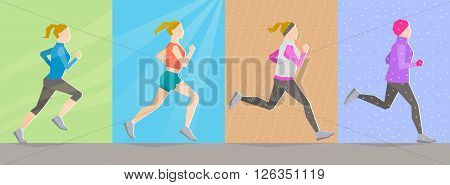 Poses of running girl dressed in different clothes according to seasons on seasonal background. Seasonal trainings. Running at any time and healthy lifestyle concept