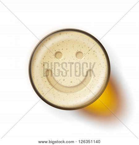 Mug of frothy drink with image of smiling face on frothy surface. Good mood and happiness concept