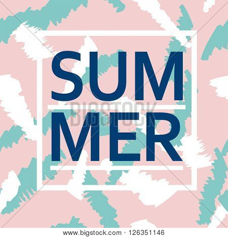 Brush stroke seamless pattern with word Summer. Summer, spring pink and blue poster for fabric, prints, cloth, paper and textile