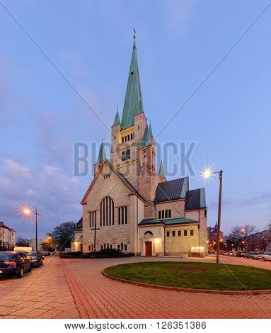 The Church of St. Augustine in Wroclaw Poland in the evening.