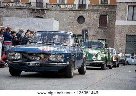 BRESCIA, ITALY - APRILE 17, 2016:500 Miglia. Finish. LANCIA FULVIA COUPE, 1974 built