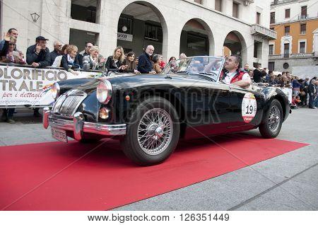 BRESCIA, ITALY - APRILE 17, 2016:500 Miglia. Finish. MG A 1600, 1962 built
