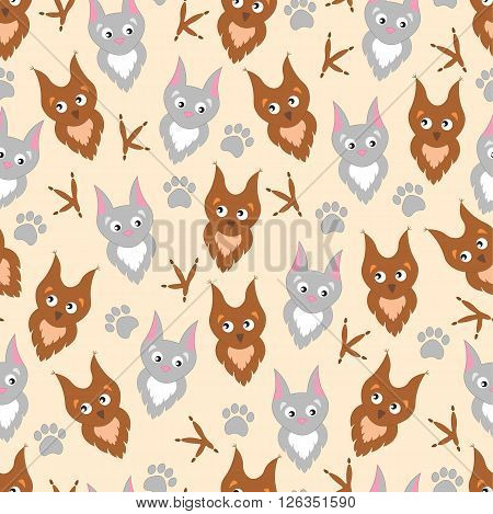 Background cute cartoon owl and cat . Adorable owl and cat, paw prints and claws. Background for children, baby.