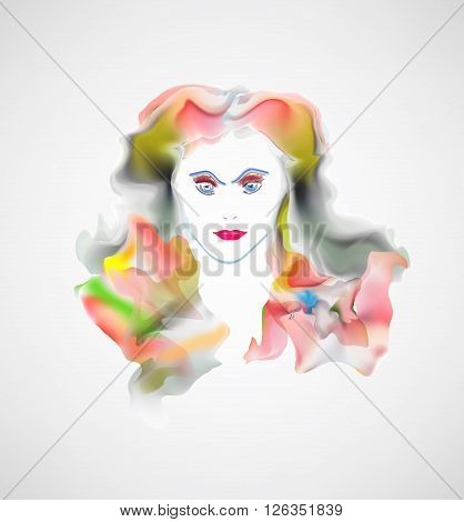 Sexy woman. Bright lips and lush hair. Vector illustration beautiful girl.
