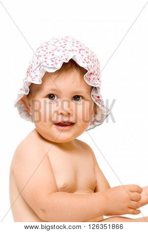 Adorable child in sunhat, isolated over white
