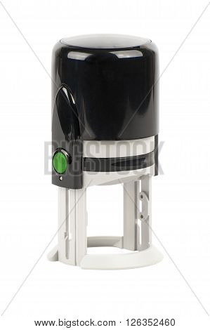 Hand Round Automatic Stamp, Black With A Green Button.