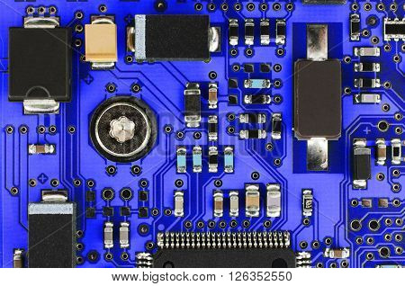 Blue Pcb With Electronic Components