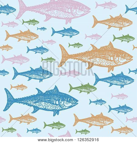 Tuna fish colourful seamless vector pattern. Realistic engraved style of fishes on light blue background.