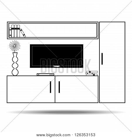 Living room furniture in linear style house inside. Modern house interior. Line style Vector Illustration.