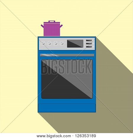 Stove icon for modrn kitchen interior isolated on color background. Flat style vector illustration with long shadows.
